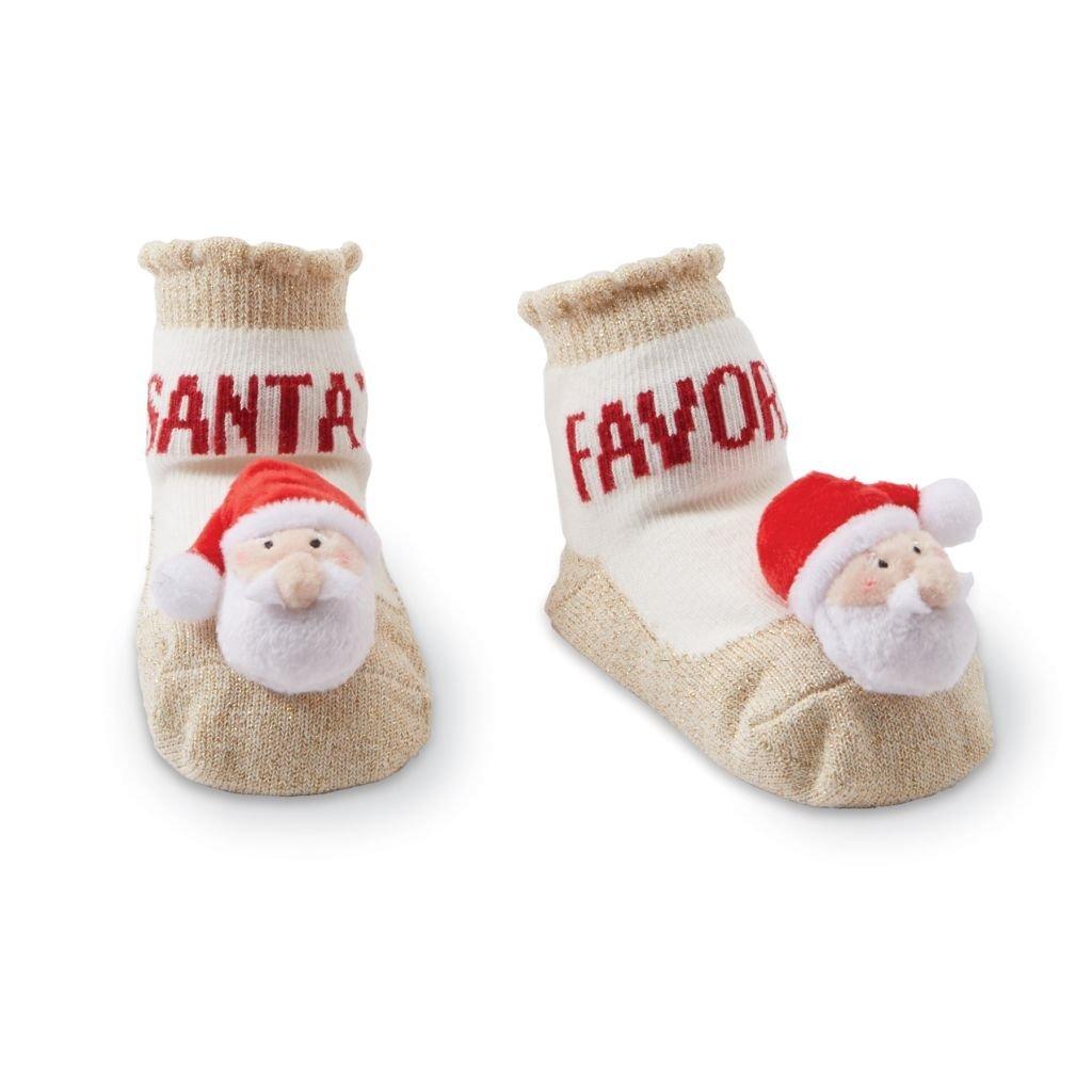 Mud Pie Christmas Boy Girl Rattle Toe Socks 0-12 mo - Reindeer Or Santa (Santa)