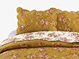 Cozy Line Home Fashions Camellia Perry French Country Mustard Yellow Floral Blooming Flower Printed Vintage Cotton Quilt Bedding Set Reversible Coverlet Bedspread Gifts for Her/Women(King - 3 piece)