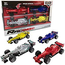 Set of 4 Pullback Formula Race Cars with Light and Sound Effects