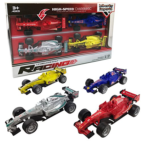 Formula 1 Race Car - Set of 4 Pullback Formula Race Cars with Light and Sound Effects