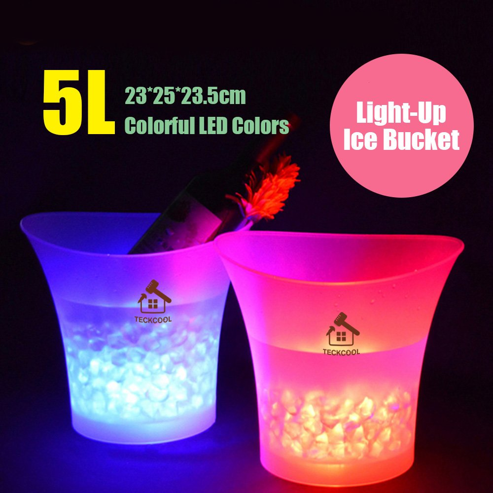 LED Ice Bucket,TECKCOOL 5L Large Capacity Wine Cooler Led Waterproof with Colors Changing,Retro Champagne Wine Drinks Beer Bucket,Power by 2 AA Batteries,for Party,Home,Bar,etc (batteries not include) by TeckCool_Store