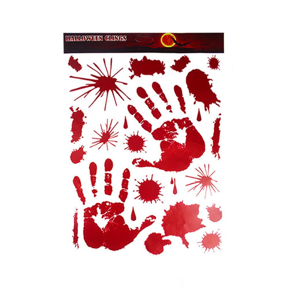 Deanyi 1 pi/èce Halloween Handprints Faux Sang Autocollants Effrayant Mur Sanglant Autocollants pour Halloween Boutique Chambre Bathroon Home D/écor Accessoires Halloween