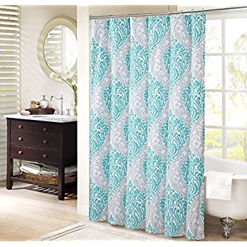 Comfort Spaces Coco Shower Curtain Teal And Grey Printed Damask Pattern 72x72 Inches