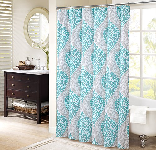 Comfort Spaces – Coco Shower Curtain – Teal and Grey – Printed Damask Pattern- 72x72 inches