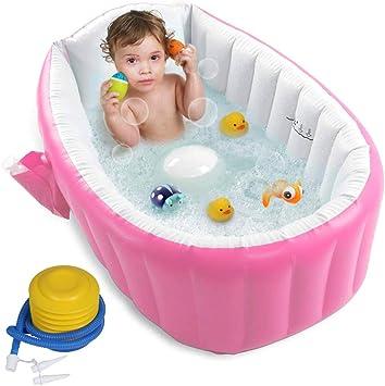 Flymei Bañera Inflable Para Bebé Con Bomba De Aire Bañera Para Bebé Bañera De Bebé Lavabo Plegable Para Recién Nacido Bañera De Viaje Portátil Para Niña Con Asiento Baby