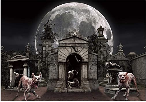 7X5ft Halloween Vinyl Backdrop Halloween Night Moon Backdrop Portrait Creepy Forest Bat Video Shooting Background Product Photography Background Portrait Photo Backdrops Carnival Party Background