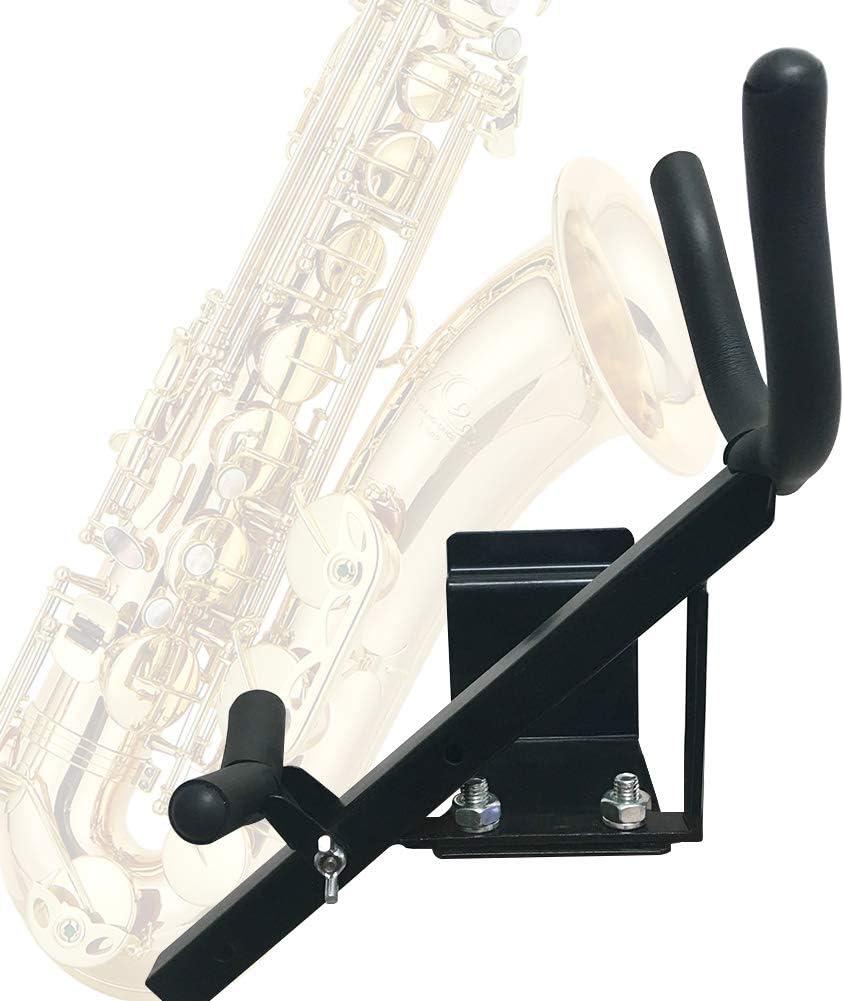 Clarinette et fl/ûte Pas de z/éro Taille Unique Almabner Support de Saxophone /à Fixation Murale en m/étal pour Saxophone t/énor Noir