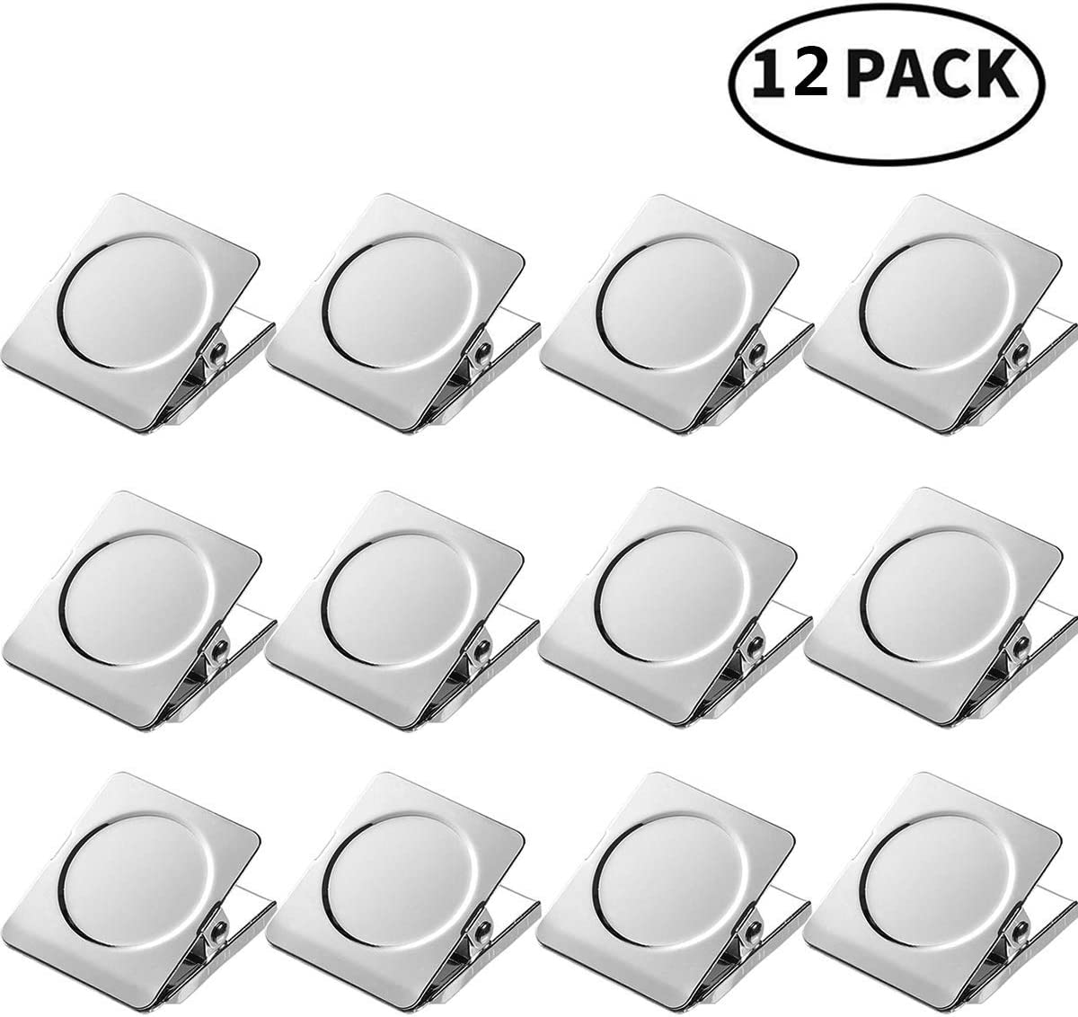 Strong Magnet Clips - 12 Heavy Duty Metal Magnetic Clips for Refrigerator Width 1.5 inch, Magnetic Clips for Whiteboard, Picture, Office Magnets, Magnet Clipboard for White Boards