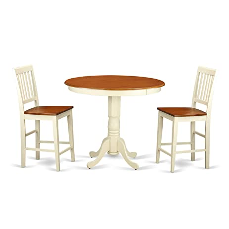 East West Furniture JAVN3 WHI W 3 Piece Counter Height Dining Table Set