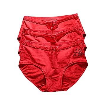 SHATONG El año del Nacimiento de Las señoras Ropa Interior roja de algodón 裆 Tela de