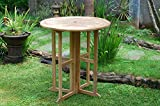 Windsor's Premium Grade A Teak Nassau 39'' Round Dropleaf Bar Table,Use with 1 Leaf Up or 2, Makes 2 Different Tables,70lbs/43 H,World's Best Outdoor Furniture,Teak Lasts A Lifetime! Assembled