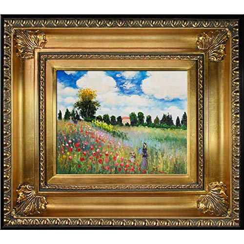 - overstockArt MON2599-FR-650G8X10 Monet Poppy Field in Argenteuil Oil Painting with Regency Gold Frame, Gold Finish