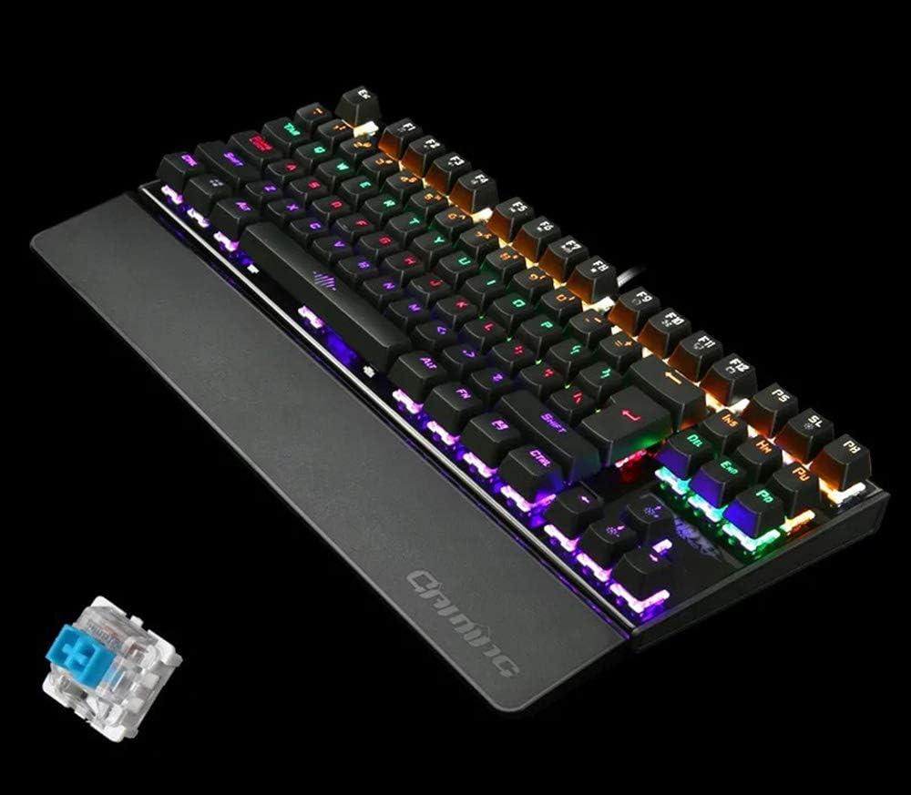 Dandan Game Backlit Keyboard Mechanical Gaming Keyboard 87 Key USB Connection Office Home Keyboard,Black