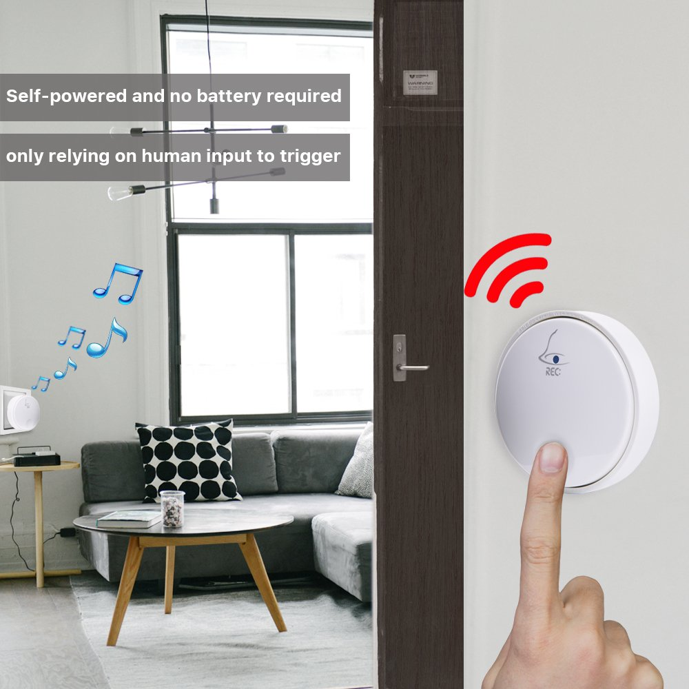 Ankuoo REC Self-Powered Wireless Doorbell, No Battery Required For Transmitter Or Receiver, White