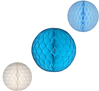 product image for Honeycomb Balls, Set of 3, 12 inch and 8 inches (Frozen Blue - Turquoise/White/Light Blue)