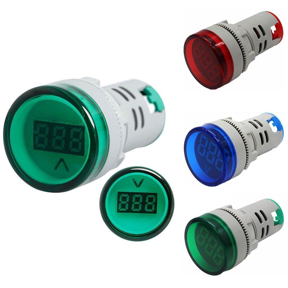 indicador de pilot indicador rojo panel de luz para monitor de voltios Medidor de voltaje de 22 mm AD16-22DSV con pantalla digital LED de 60 UxradG 500 V CA medidor de voltaje volt/ímetro