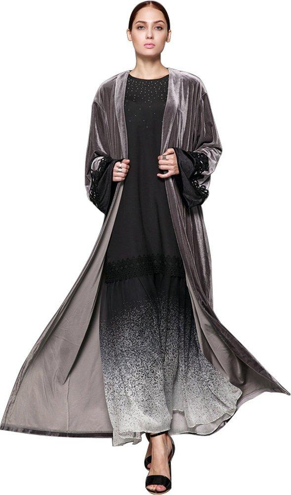 YI HENG MEI Women's Elegant Modest Muslim Clothing Full Length Open Front Lace Velvet Abaya Coat