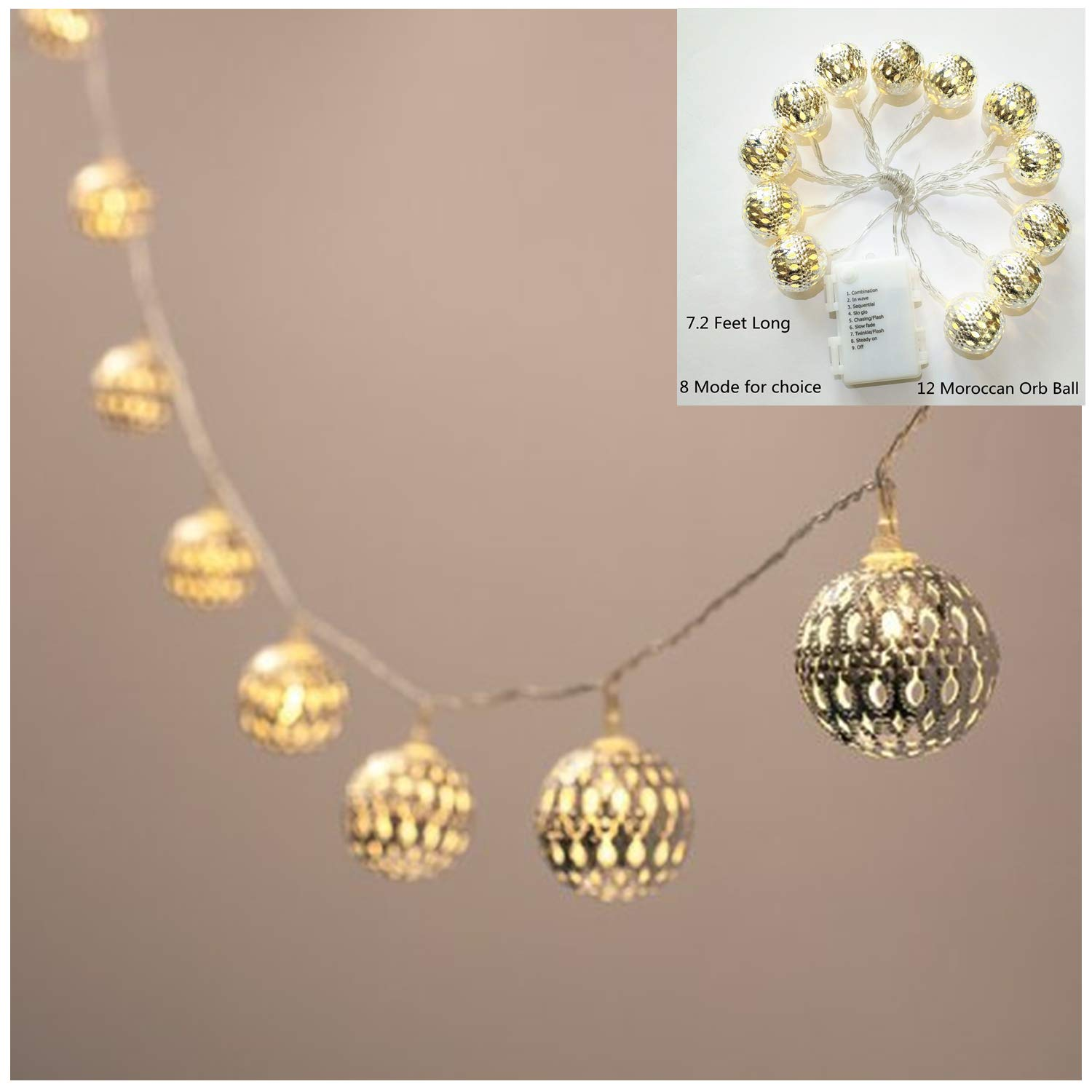 Battery Operated Silver Moroccan Orb LED Fairy Lights with 10 Warm White LEDs SYNCHKG060234