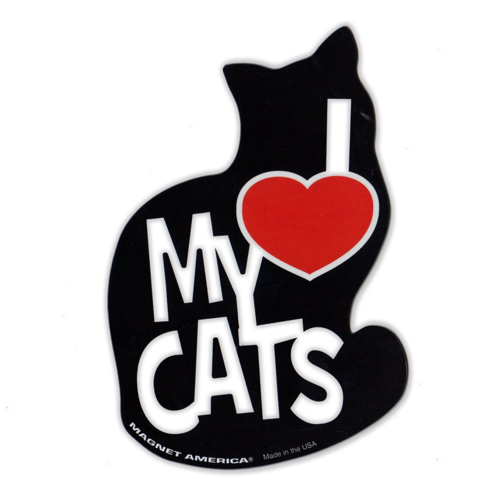 "Magnetic Bumper Sticker - I Love My Cats Magnet - Silhouette - 4"" x 5.5"""