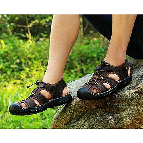 antiscivolo a piedi l'estate Fondo Primavera utensili Sandali Scarpe Movimento Baotou casual con vera e Pantofole morbido Traspirante pelle da LJYNX da C in Scarpe uomo pelle all'aperto spiaggia in P6nzPqv