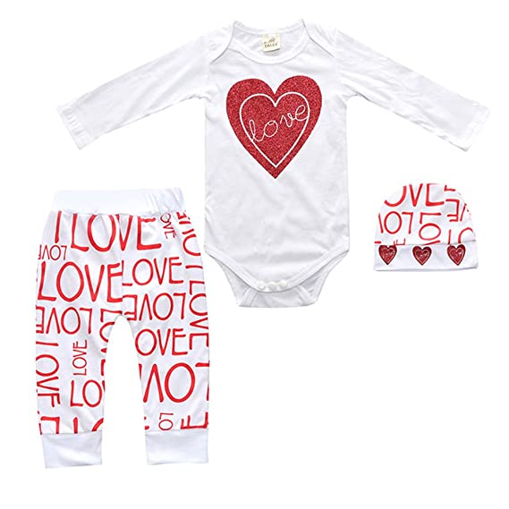 944408ec475d EDTara 3Pcs Baby Girls Cotton Letters Clothes Set Love-Shape Long ...