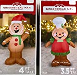 Airblown Inflatable Outdoor Christmas Characters - Gingerbread Man and Girl Set