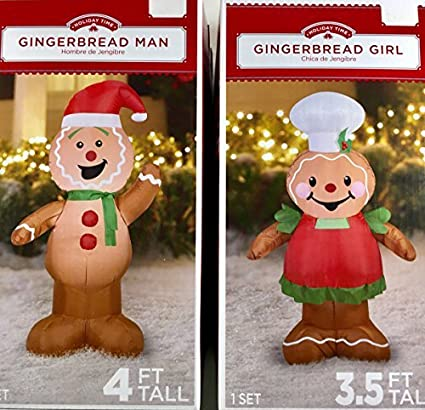 airblown inflatable outdoor christmas characters gingerbread man and girl set - Gingerbread Outdoor Christmas Decorations