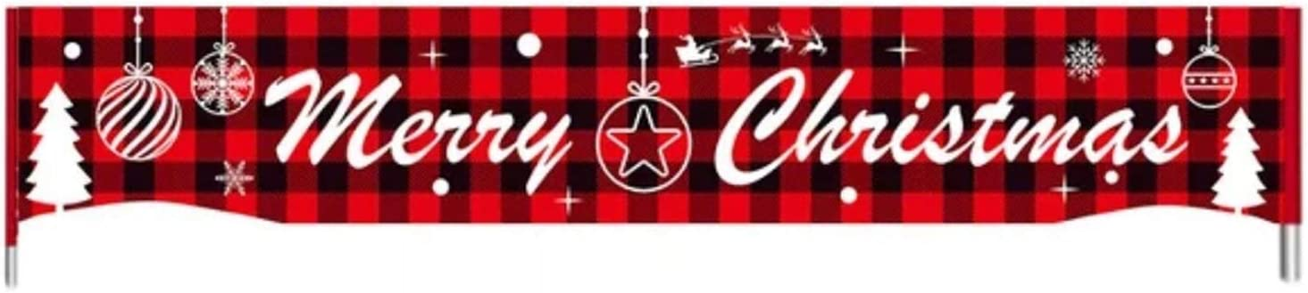 Flunyina Merry Christmas Banner Red Buffalo Plaid Banner for Outdoor Indoor Home Yard Decoration with Christmas Tree Snowflake Large Xmas Porch Sign Banners Poster for Indoor Outdoor Holiday Party Hanging Decorations, 1Pc