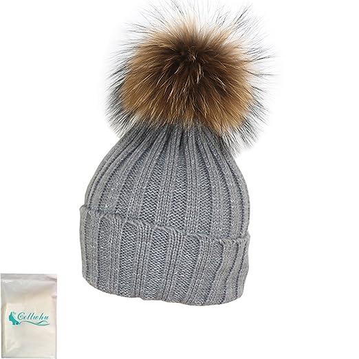 bb93a53d3 Gellwhu Womens Girls Winter Fur Hat Real Large Raccoon Fur Pom Pom Beanie  Winter Hats