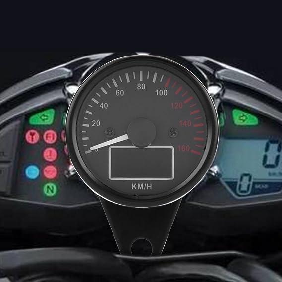 Keenso 160kmh Dc12v Motorrad Tachometer Universal Kunststoff Digital Motorrad Tachometer Led Lcd Kmh Motorrad Tachometer Geschwindigkeitsmesser Auto
