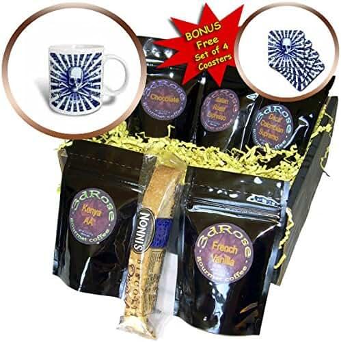 3dRose Russ Billington Designs - Skull and Crossbones Sunburst Radial Grunge Design in Blue - Coffee Gift Baskets - Coffee Gift Basket (cgb_255197_1)