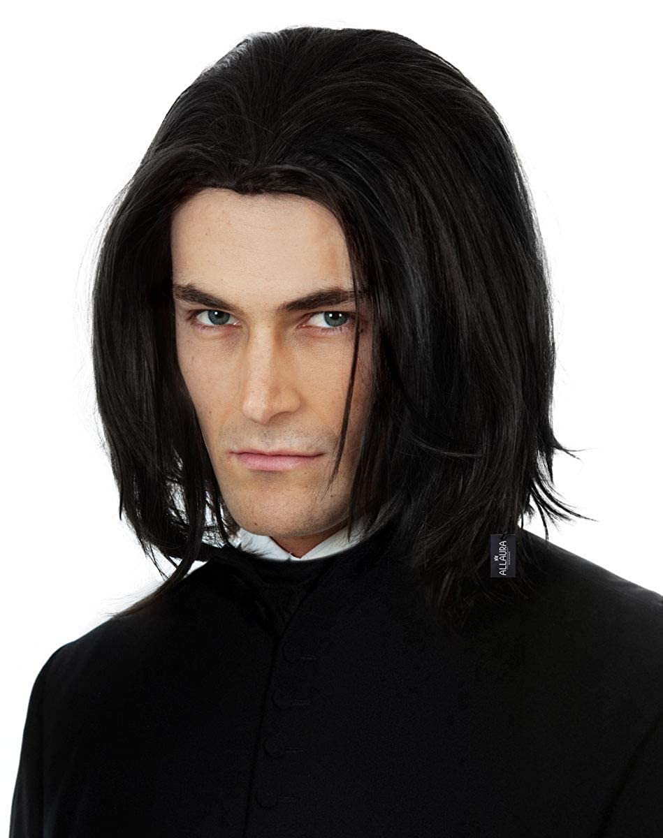Severus Snape Costume Wig Long Black Mens Wigs Michael Jackson Adults Kids