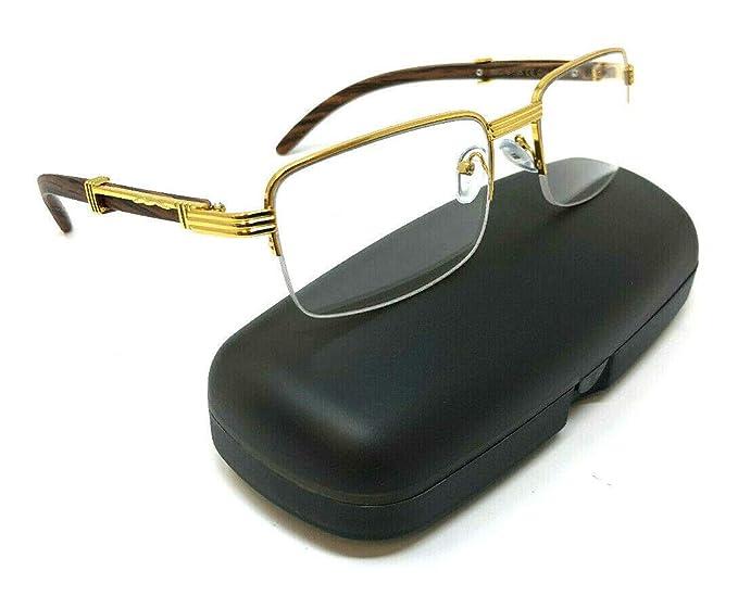 a78e816f0b Executive Half Rim Rectangular Metal   Wood Eyeglasses Clear Lens Sunglasses  (Gold   Cherry