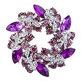 EVER FAITH Silver-Tone Austrian Crystal Wedding Flower Wreath Brooch Pin Purple w/ Light Purple