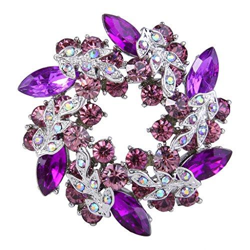 (EVER FAITH Austrian Crystal Wedding Flower Wreath Brooch Pin Purple w/Light Purple Silver-Tone)