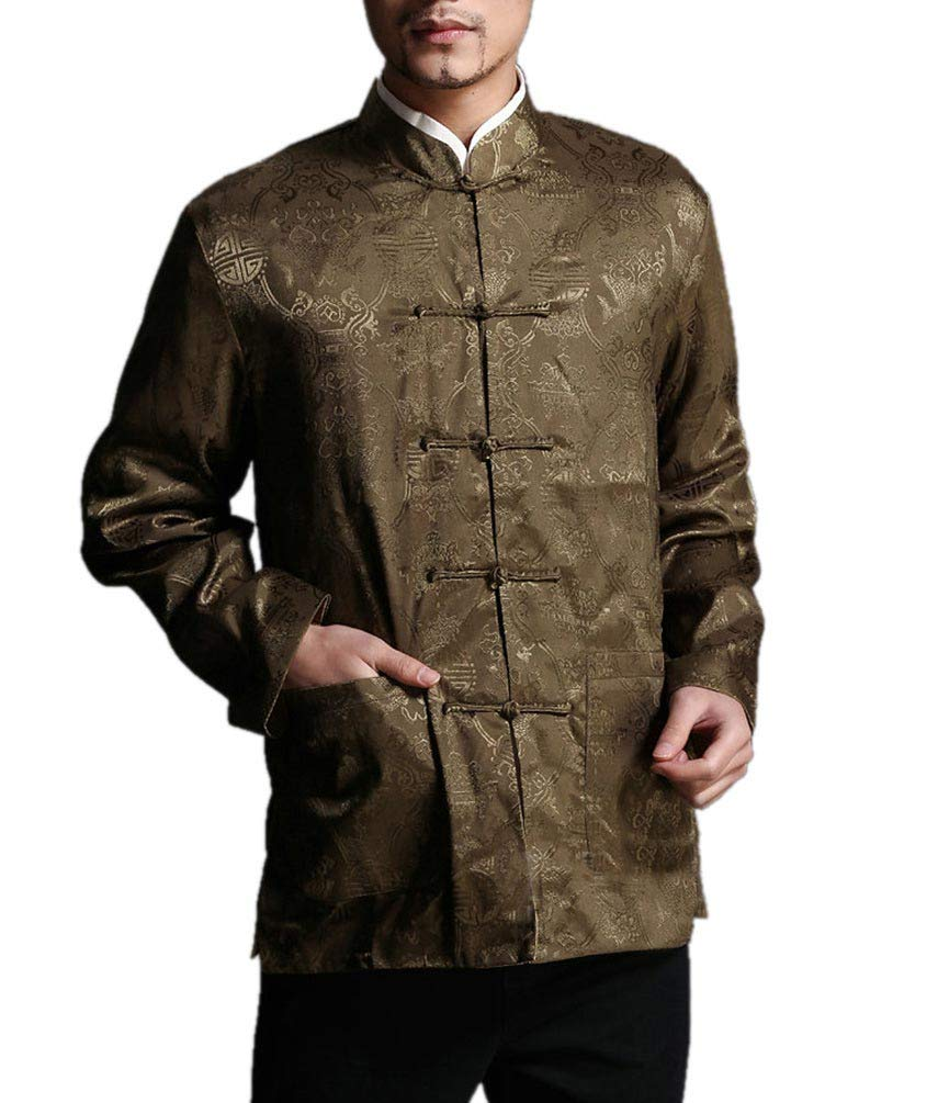 Chinese Tai Chi Kungfu Reversible Green/Yellow Jacket Blazer 100% Silk Brocade #102 + Free Magazine by Interact China