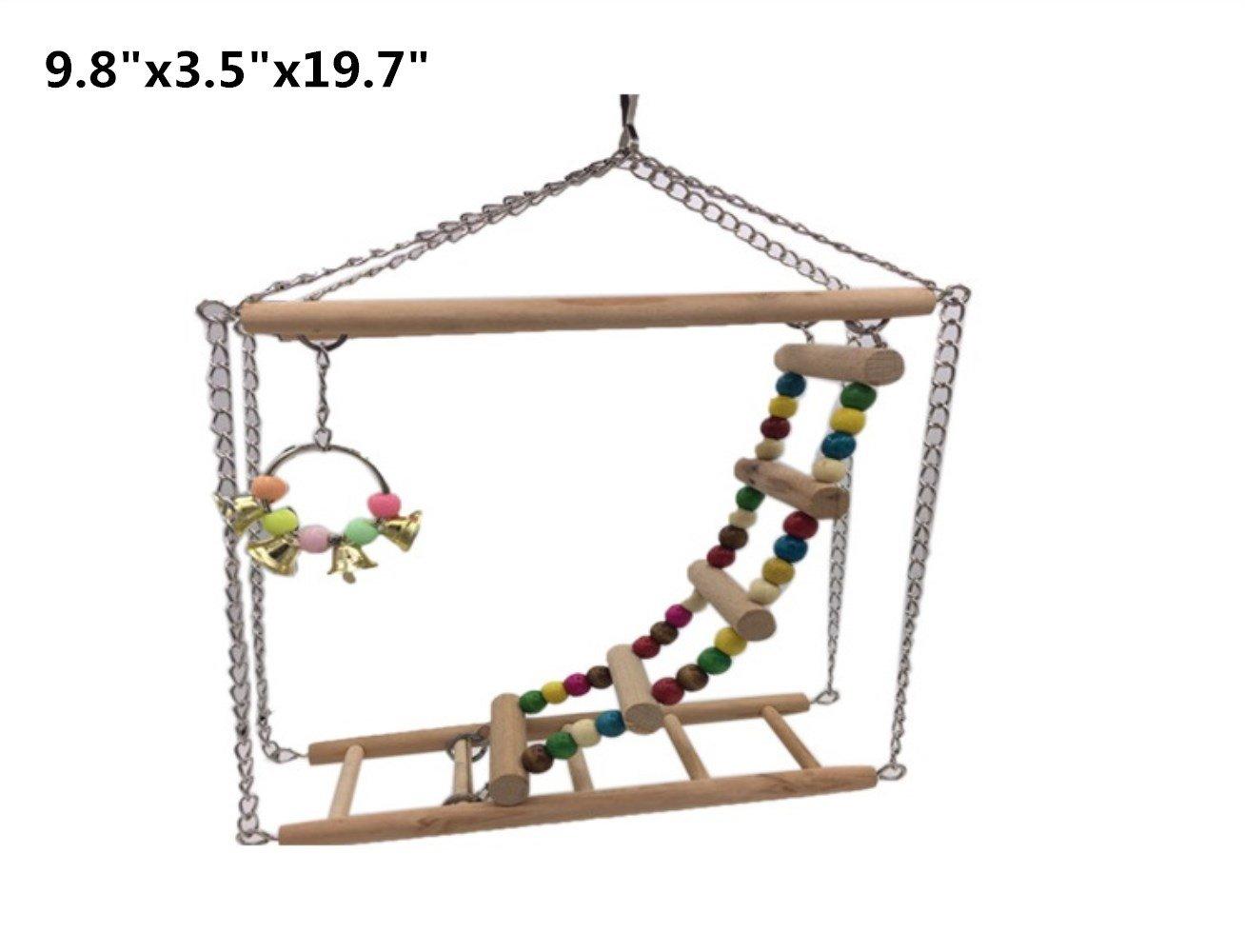 Hamiledyi Bird Swing For Parrot Parakeet Budgie Cockatiel Climbing Ladder Swinging Wood Hanging Toy Bird Toy Ladder Wooden Bridge Swings for Parrots Wooden Suspension Bridge by Hamiledyi (Image #2)