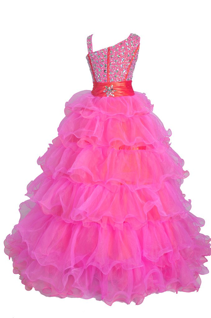 GreenBloom Girls One Shoulder Beading Ruffled Pageant Ball Gowns 14 US Pink