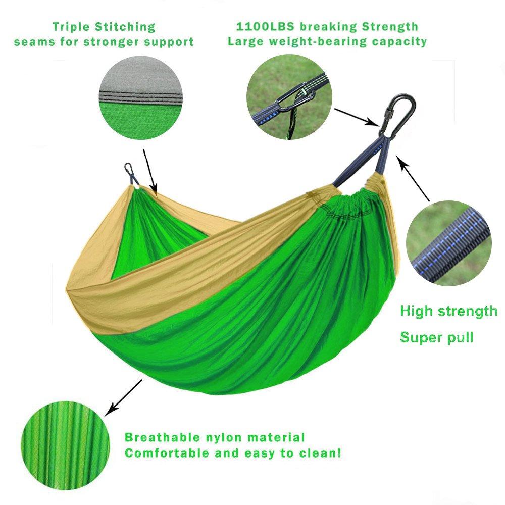 W LKF Ripstop Double Camping Hammock With 9ft Tree Straps QINGKOU Backpacking Travel W Beach,Yard. x 78 118 Capacity 1000lbs Yard. Lightweight Portable Nylon Hammock For Hiking L x 78 green+Khaki L 118