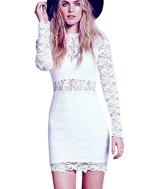 Vestido De Fiesta Elegantes Slim Manga Larga Encaje Cóctel Noche Para Mujer Blanco L