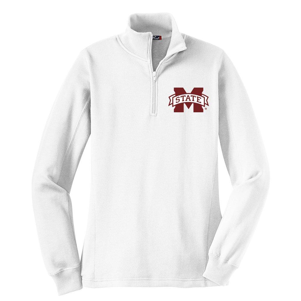 NCAAミシシッピ州ブルドッグWomen 's 1 / 4 Zipプルオーバー、大、ホワイト   B01K1I96NW