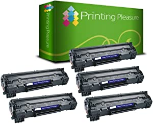 Printing Pleasure 5 Compatible CF283A 83A Toner Cartridges for HP Laserjet Pro MFP M125a M125nw M125rnw M126a M127fn M127fw M128fn M128fw M225dn M225dw M201dw M201n M202dw M202n - Black, High Yield