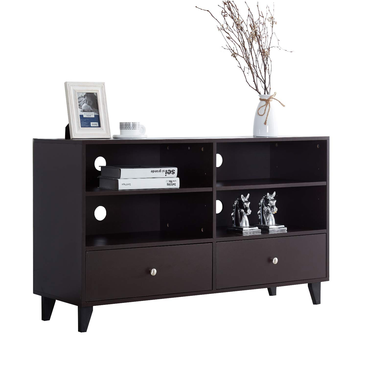Soges Storage Cabinet Kitchen Sideboard Buffet Table Server Cabinet Cupboard with Drawers & Shelves Display Cabinet, Espresso HHGZ008-CF