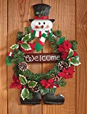 Whimsical Winter Snowman Top Hat Scarf Mitten Welcome Wreath Faux Pine Greenery Poinsettias Holly Ivy Berries Pine Cones Decor Door Wall Hanging Christmas Home Accent Decoration