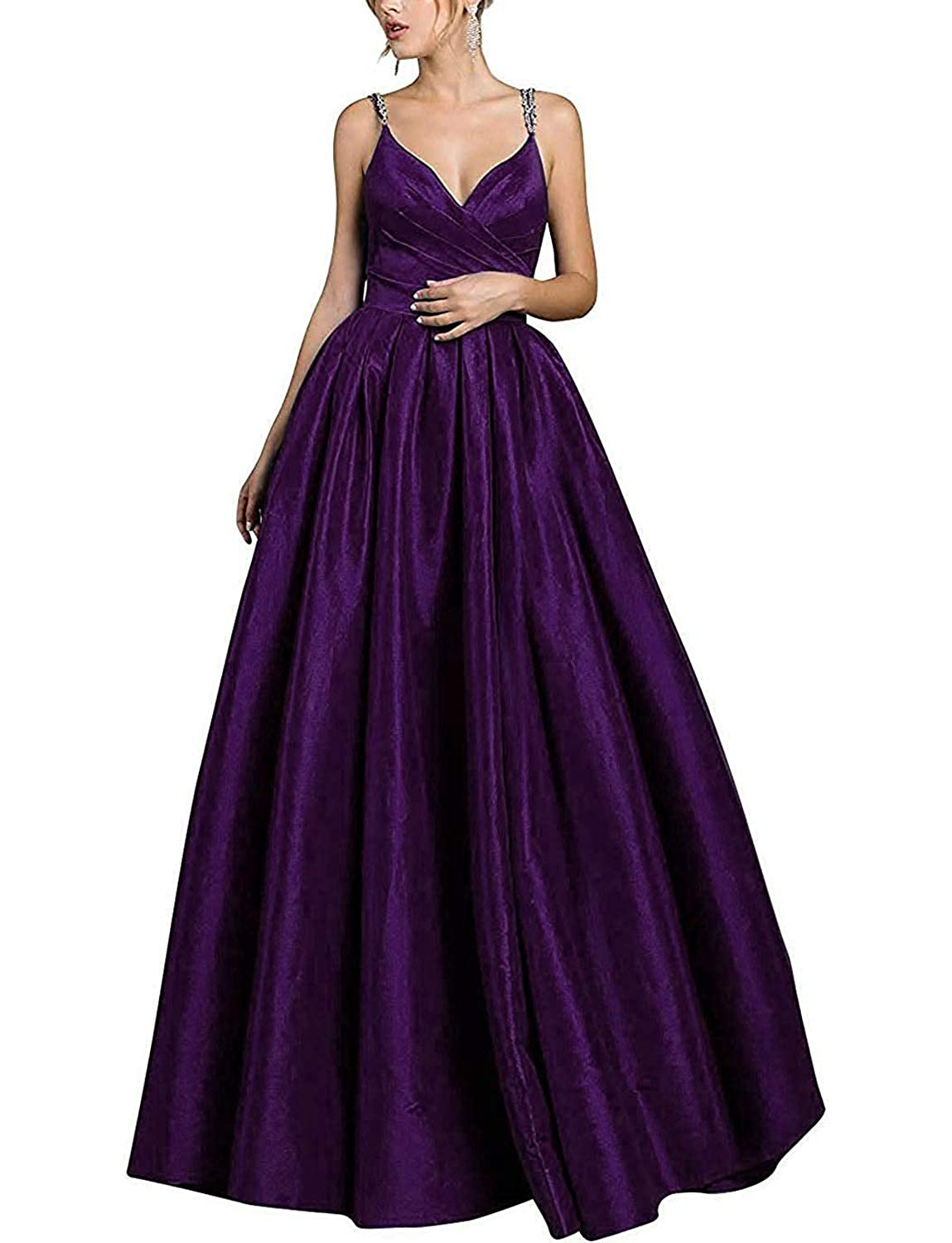 Dark Purple Satin V Neck Formal Long Prom Dresses for Women 2019 Evening Gowns with Pockets
