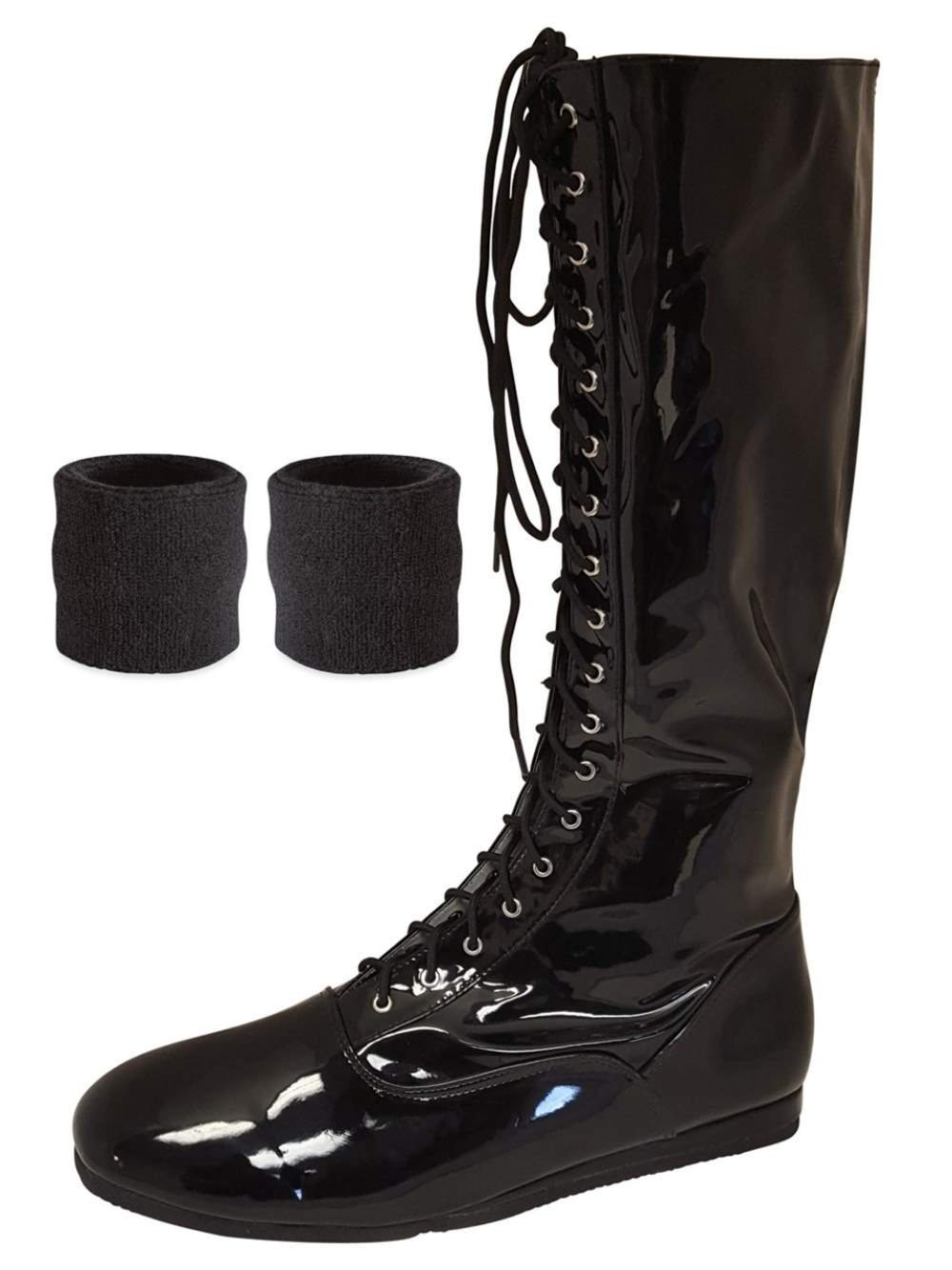 (Black, Small) Pro Wrestling Costume Boots with Matching Sweatbands
