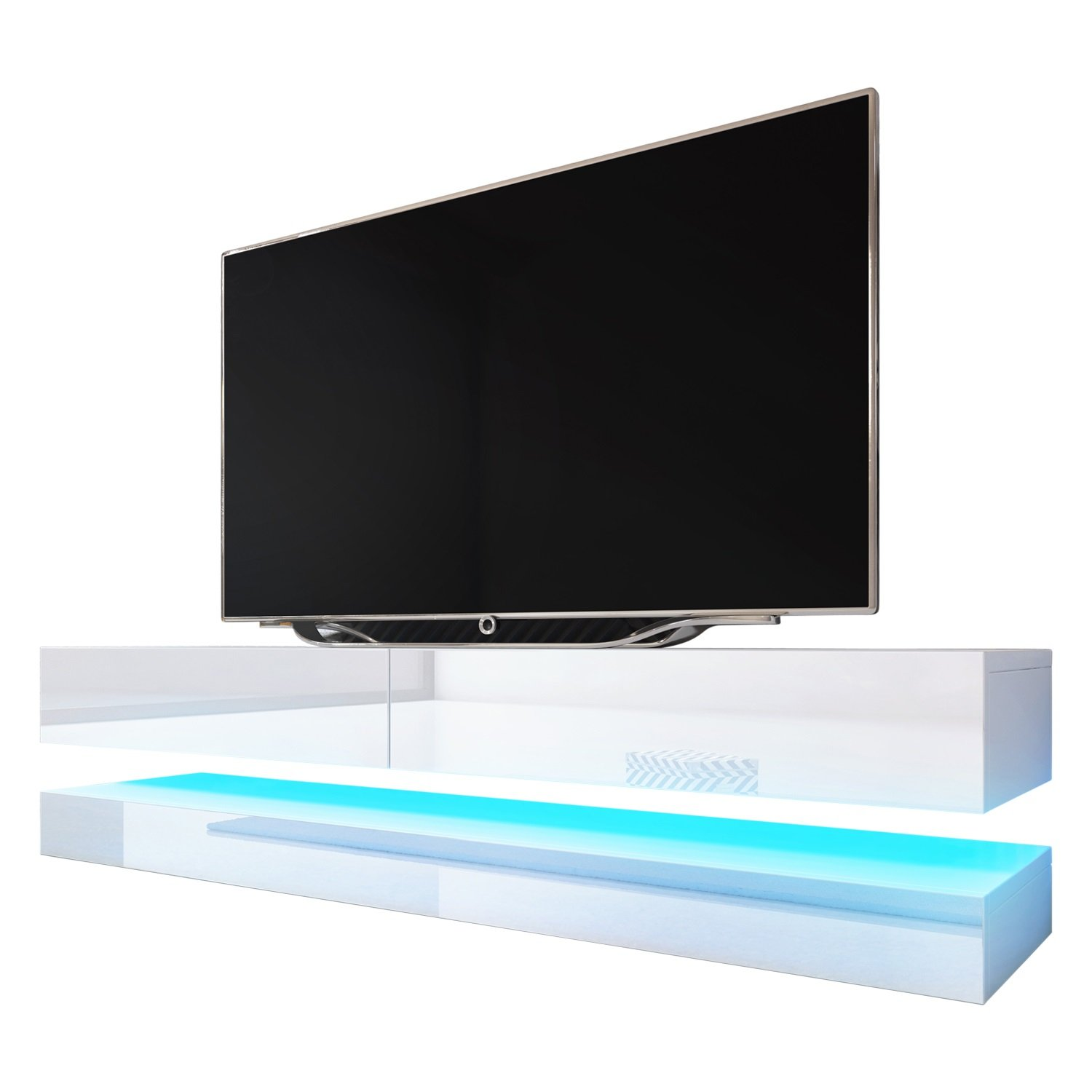 Fly Wall Mounted Floating TV Stands16 colors LED Fits 60'' TV (WHITE)