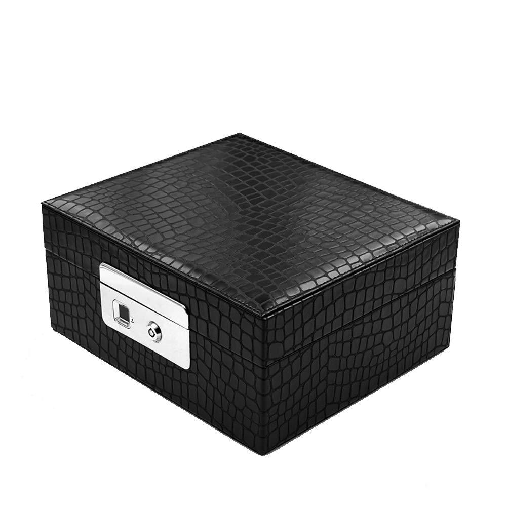 YMXLJJ 360° Smart Fingerprint Lock Elegant Jewelry Box Fingerprint Key Double Unlock Waterproof Storage Box USB Rechargeable Jewelry Box,Black