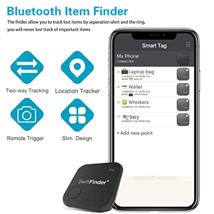 Key Finder,Phone Finder,Bluetooth Tracking Locator for  Keys,Wallet,Bag,Luggage,with App Control,Smart Anti Lost Alarm,for iPhone  iOS/Android