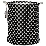 Sea Team Folding Cylindric Waterproof Coating Canvas Fabric Laundry Hamper Storage Basket with Drawstring Cover, Black